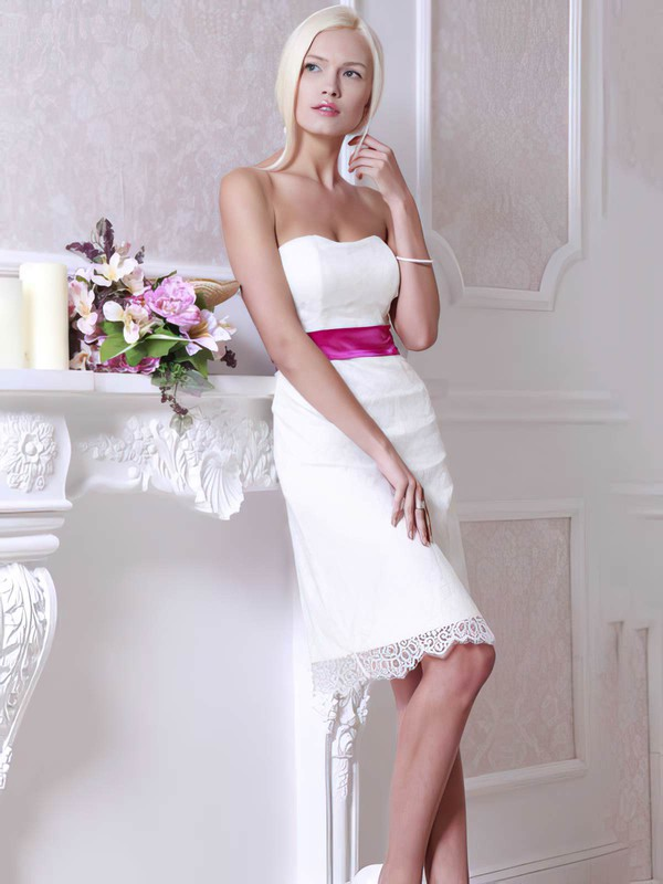 Sweetheart Sheath/Column Knee-length Lace Sashes / Ribbons Wedding Dresses #DOB00021364