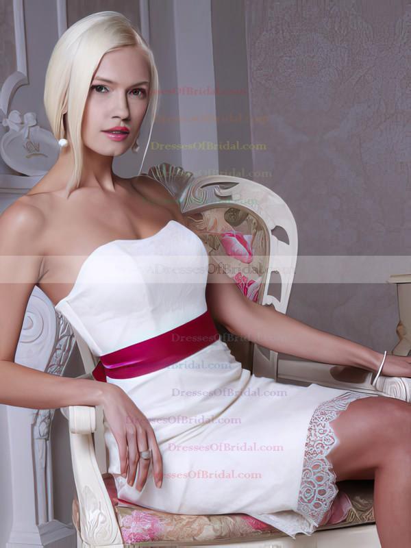 Sweetheart Sheath/Column Knee-length Lace Sashes / Ribbons Wedding Dresses #DOB00021364