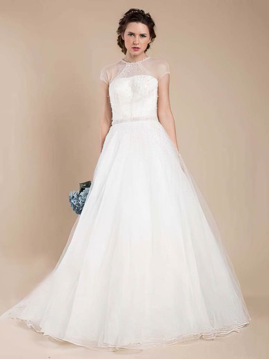 Scoop Neck Ball Gown Sweep Train Tulle Beading Wedding Dresses #DOB00021368