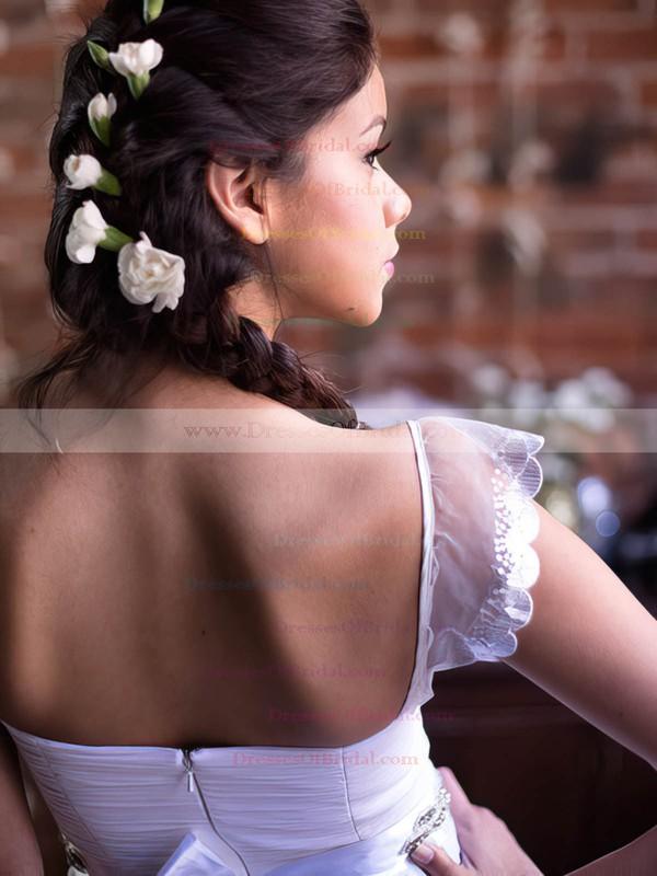 Square Neckline A-line Sweep Train Chiffon Tulle Beading Wedding Dresses #DOB00021369