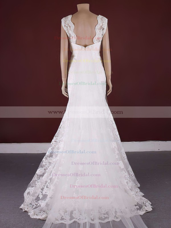 Scoop Neck Trumpet/Mermaid Watteau Train Lace Tulle Appliques Lace Wedding Dresses #DOB00021371