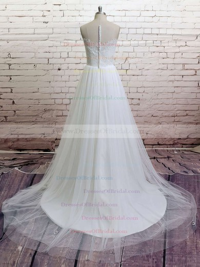 V-neck Ball Gown Sweep Train Lace Tulle Ruffles Wedding Dresses #DOB00021372