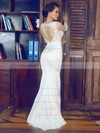 V-neck Trumpet/Mermaid Sweep Train Lace Elastic Woven Satin Beading Wedding Dresses #DOB00021375