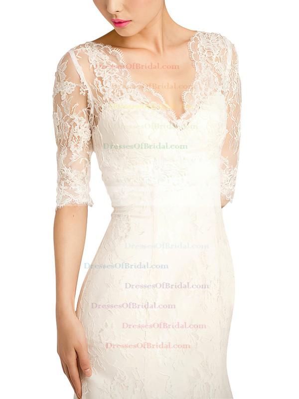 V-neck Trumpet/Mermaid Sweep Train Lace Flower(s) Wedding Dresses #DOB00021379