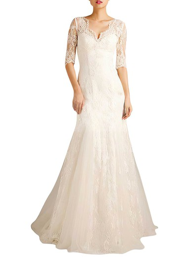 V-neck Trumpet/Mermaid Sweep Train Lace Flower(s) Wedding Dresses #DOB00021379