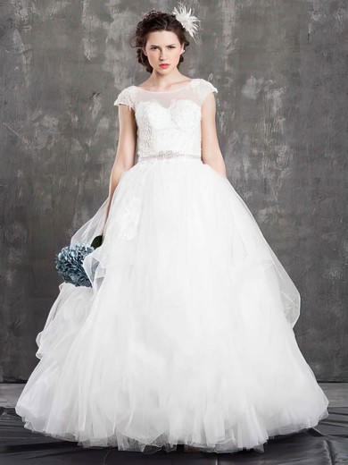 Scoop Neck Ball Gown Floor-length Tulle Beading Wedding Dresses #DOB00021381