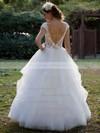 Scoop Neck Ball Gown Floor-length Tulle Beading Wedding Dresses #DOB00021381