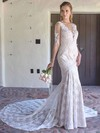 V-neck Trumpet/Mermaid Chapel Train Lace Tulle Beading Wedding Dresses #DOB00021382