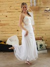 Halter A-line Floor-length Lace Chiffon Sashes / Ribbons Wedding Dresses #DOB00021384