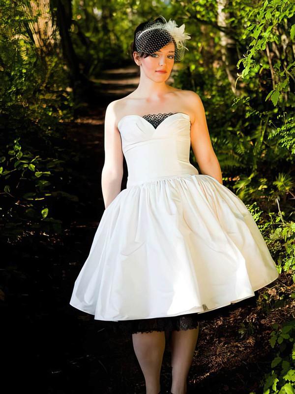 Strapless Ball Gown Tea-length Lace Taffeta Buttons Wedding Dresses #DOB00021385
