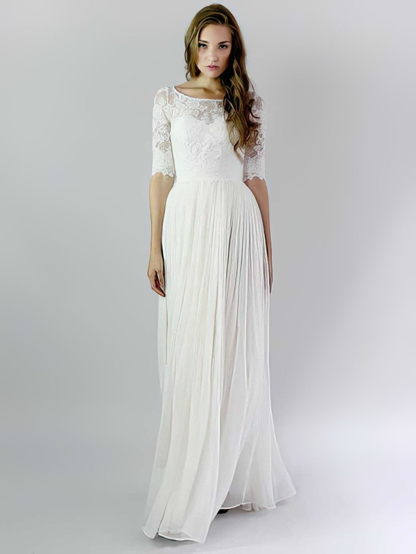 Scoop Neck A-line Floor-length Lace Chiffon Ruffles Wedding Dresses #DOB00021392