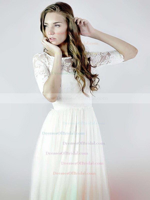 Scoop Neck A-line Floor-length Lace Chiffon Ruffles Wedding Dresses #DOB00021392