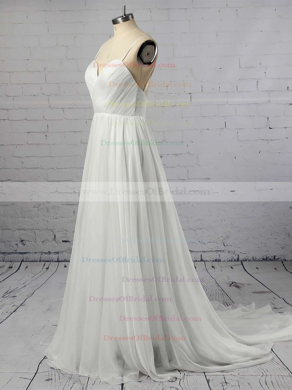 Sweetheart A-line Sweep Train Chiffon Ruffles Wedding Dresses #DOB00021393