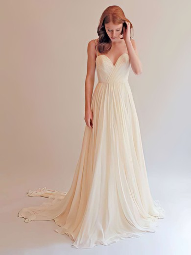 Sweetheart A-line Sweep Train Chiffon Ruffles Wedding Dresses #DOB00021393