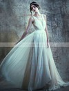 Scoop Neck A-line Sweep Train Chiffon Tulle Appliques Lace Wedding Dresses #DOB00021395