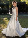 V-neck A-line Chapel Train Lace Satin Tulle Beading Wedding Dresses #DOB00021397