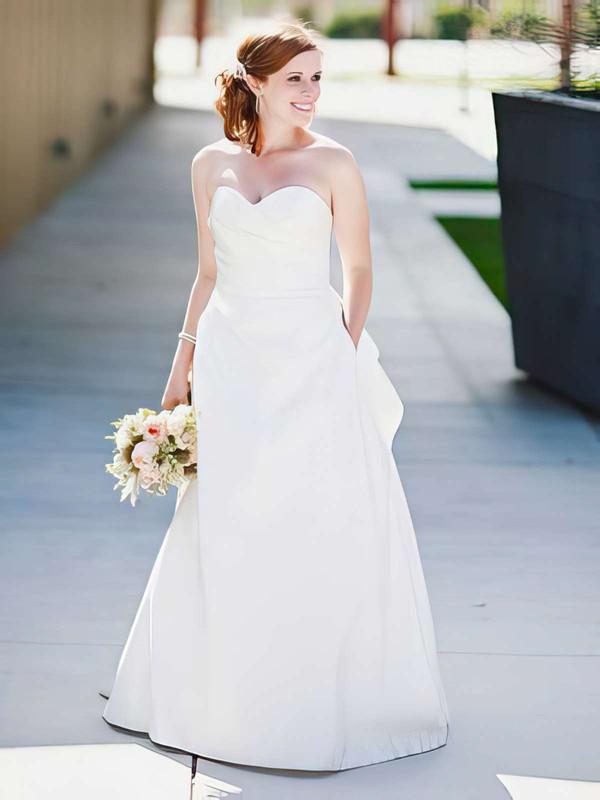 Sweetheart A-line Floor-length Satin Ruffles Wedding Dresses #DOB00021404