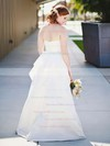 Sweetheart A-line Floor-length Satin Ruffles Wedding Dresses #DOB00021404