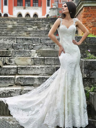 Sweetheart Trumpet/Mermaid Sweep Train Lace Beading Wedding Dresses #DOB00021406