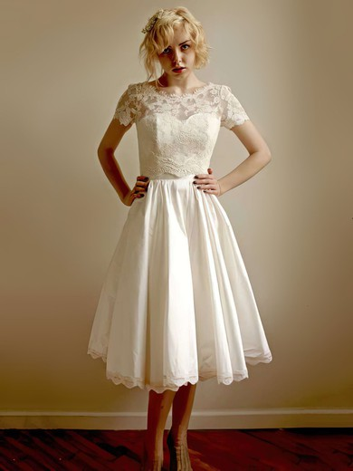 Scoop Neck A-line Tea-length Lace Taffeta Flower(s) Wedding Dresses #DOB00021407