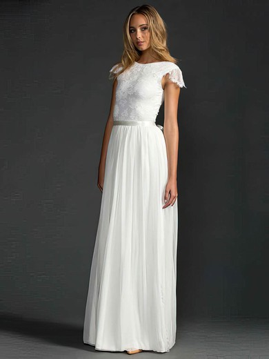 Scoop Neck A-line Sweep Train Lace Chiffon Beading Wedding Dresses #DOB00021410