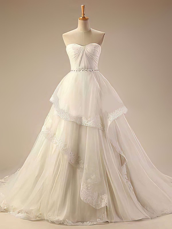 Sweetheart Ball Gown Chapel Train Tulle Beading Wedding Dresses #DOB00021414
