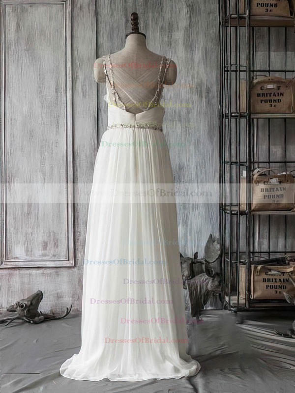 Sweetheart A-line Sweep Train Chiffon Tulle Beading Wedding Dresses #DOB00021415
