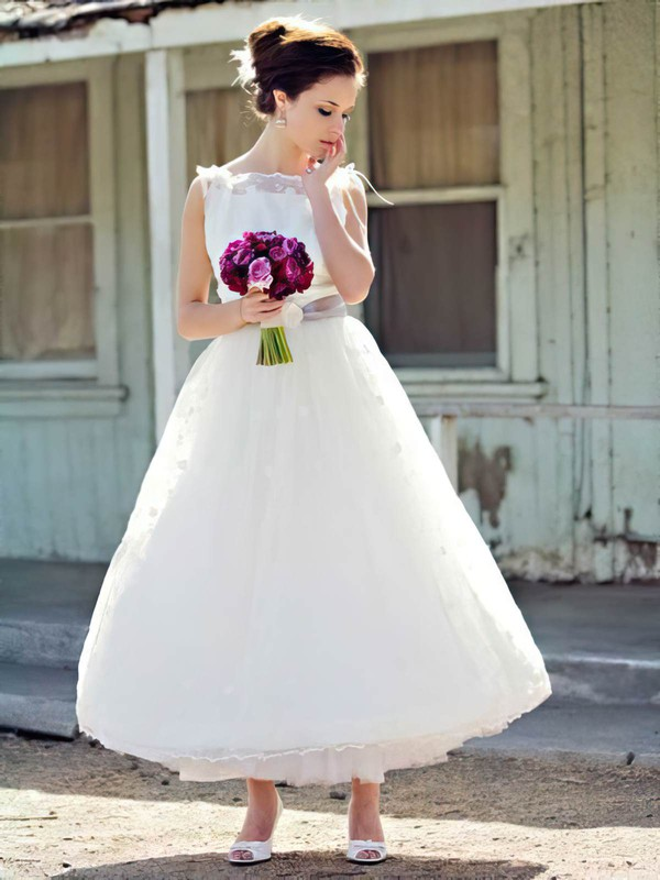 Square Neckline Ball Gown Ankle-length Lace Tulle Sashes / Ribbons Wedding Dresses #DOB00021241