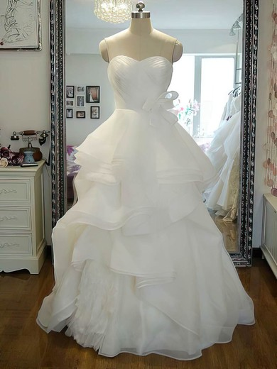 Sweetheart Princess Floor-length Organza Flower(s) Wedding Dresses #DOB00021242