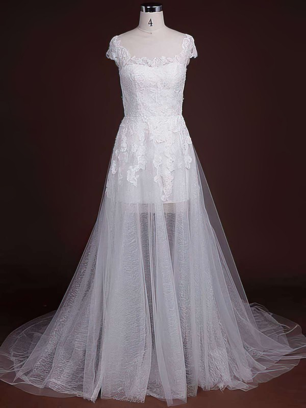 Scoop Neck A-line Court Train Lace Appliques Lace Wedding Dresses #DOB00021244