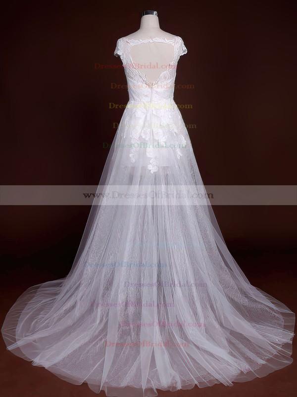 Scoop Neck A-line Court Train Lace Appliques Lace Wedding Dresses #DOB00021244