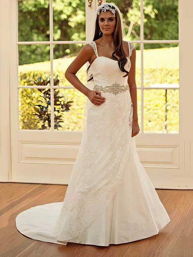 Sweetheart A-line Chapel Train Lace Taffeta Beading Wedding Dresses #DOB00021251