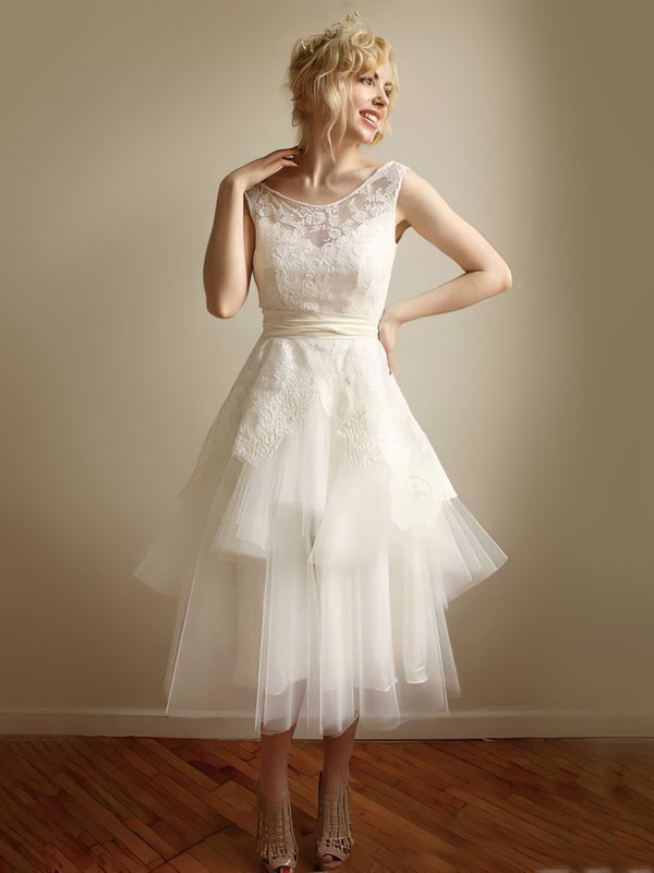 Strapless A-line Tea-length Lace Tulle Sashes / Ribbons Wedding Dresses #DOB00021253