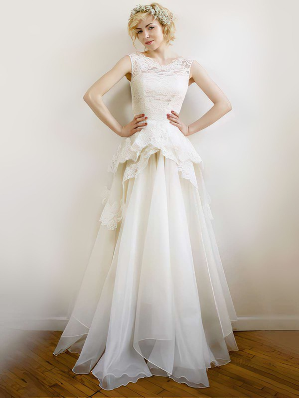 V-neck A-line Floor-length Lace Organza Ruffles Wedding Dresses #DOB00021254