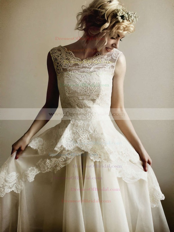 V-neck A-line Floor-length Lace Organza Ruffles Wedding Dresses #DOB00021254
