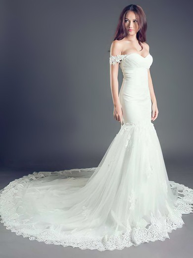 Off-the-shoulder Trumpet/Mermaid Cathedral Train Tulle Appliques Lace Wedding Dresses #DOB00021260