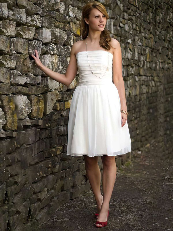 Square Neckline A-line Short/Mini Chiffon Ruffles Wedding Dresses #DOB00021264