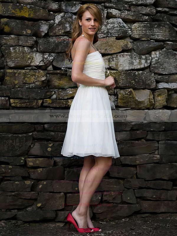 Square Neckline A-line Short/Mini Chiffon Ruffles Wedding Dresses #DOB00021264