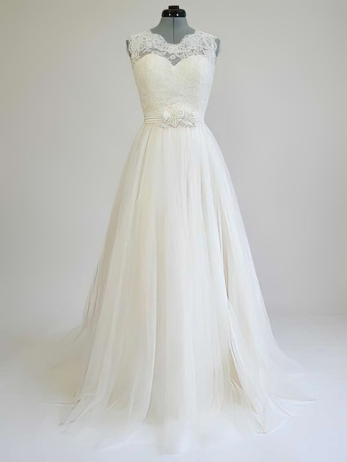 Scoop Neck A-line Sweep Train Lace Tulle Sashes / Ribbons Wedding Dresses #DOB00021269