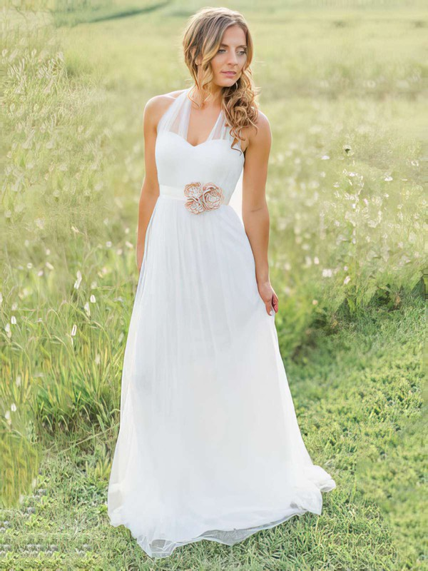 Halter A-line Sweep Train Tulle Sashes / Ribbons Wedding Dresses #DOB00021270