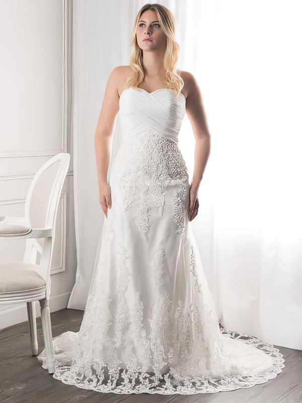 Sweetheart A-line Court Train Lace Ruffles Wedding Dresses #DOB00021272