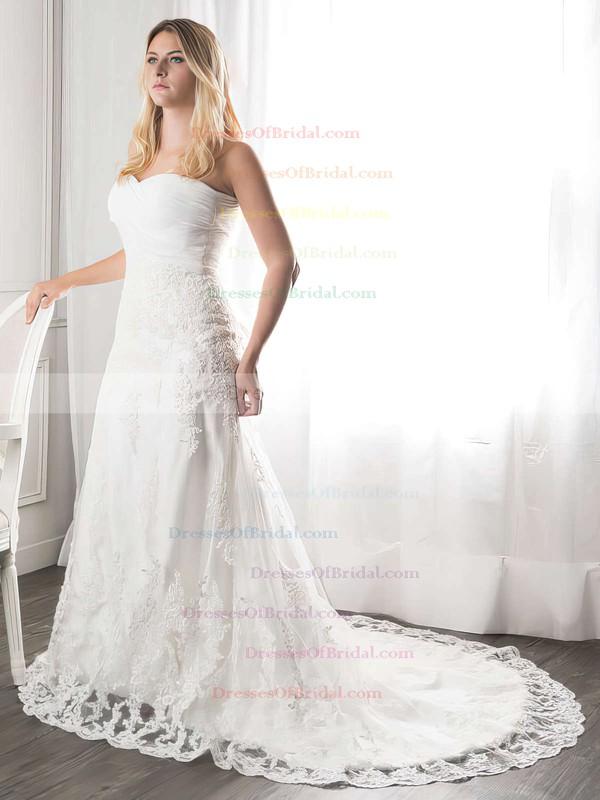 Sweetheart A-line Court Train Lace Ruffles Wedding Dresses #DOB00021272