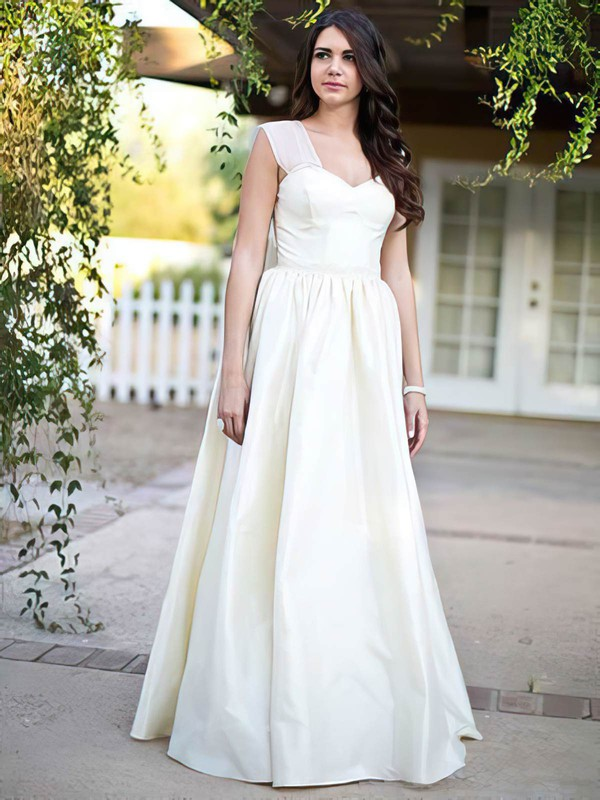 Sweetheart Princess Floor-length Taffeta Beading Wedding Dresses #DOB00021279