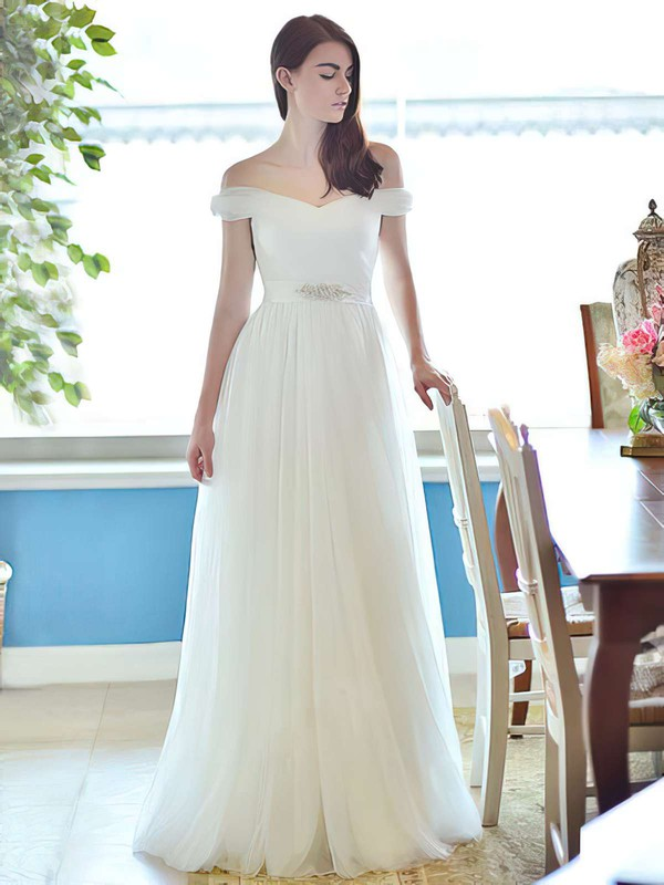 Off-the-shoulder A-line Floor-length Tulle Beading Wedding Dresses #DOB00021284