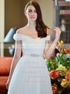 Off-the-shoulder A-line Floor-length Tulle Beading Wedding Dresses #DOB00021284