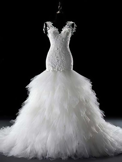 V-neck Trumpet/Mermaid Chapel Train Lace Tulle Appliques Lace Wedding Dresses #DOB00021291