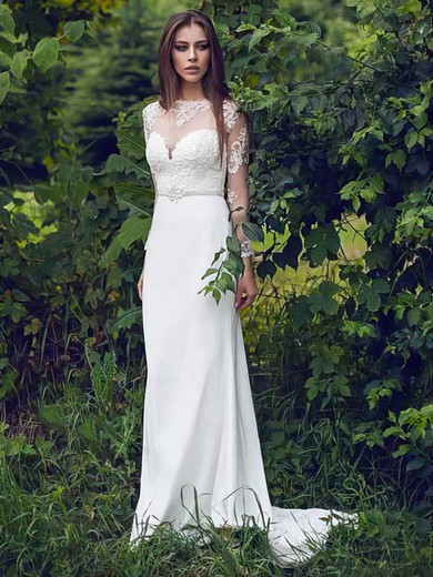 Scoop Neck Trumpet/Mermaid Sweep Train Lace Chiffon Tulle Beading Wedding Dresses #DOB00021297