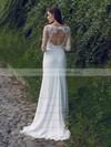 Scoop Neck Trumpet/Mermaid Sweep Train Lace Chiffon Tulle Beading Wedding Dresses #DOB00021297