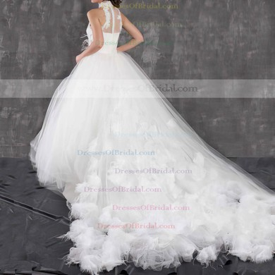 High Neck Ball Gown Chapel Train Tulle Appliques Lace Wedding Dresses #DOB00021299