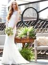 Scoop Neck Trumpet/Mermaid Sweep Train Lace Flower(s) Wedding Dresses #DOB00021303